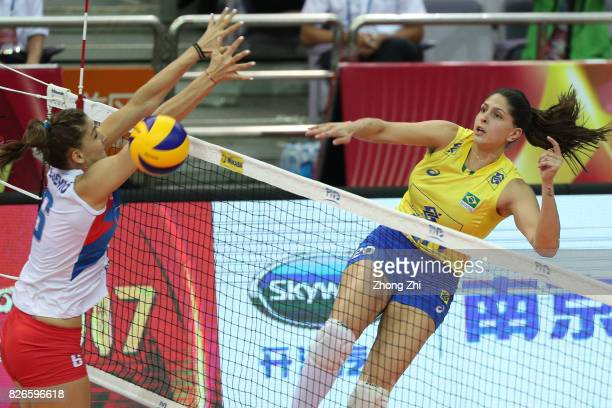 Ana Beatriz Correa of Brazil in action during the semi final match between Brazil and Serbia during 2017 Nanjing FIVB World Grand Prix Finals on...