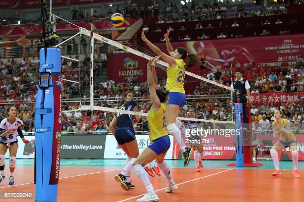 Ana Beatriz Correa of Brazil in action with team mates during the final match between Brazil and Italy during 2017 Nanjing FIVB World Grand Prix...