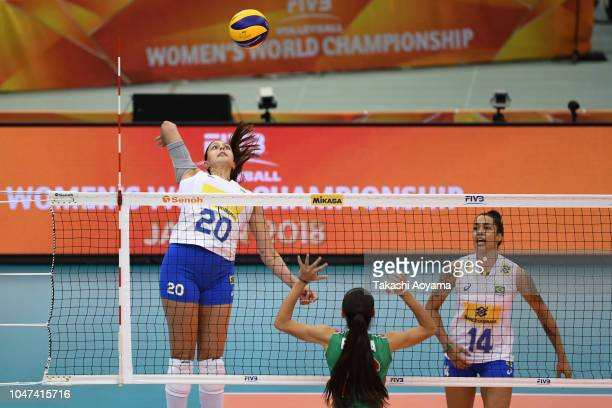 Ana Beatriz Correa of Brazil spikes during the Pool E match between Mexico and Brazil on day two of the FIVB Women's World Championship second round...