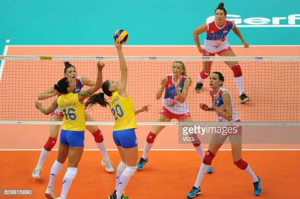 Ana Beatriz Correa of Brazil spikes the ball during the semifinal match of 2017 Nanjing FIVB World Grand Prix Finals between Serbia and Brazil at...