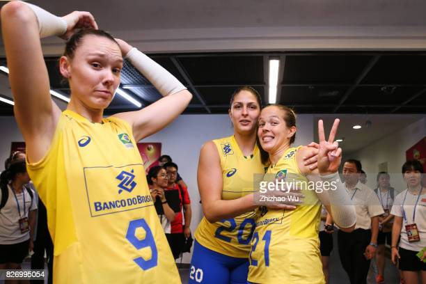 Ana Beatriz Correa#9 Roberta Silva Ratzke and Monique Marinho Pavao of Brazil celebrate before the award ceremony 2017 Nanjing FIVB World Grand Prix...