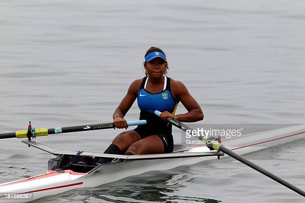 Ana Beatriz Fernandez Chagas of Brazil competes during the Women's Single Scull Qualifiation as part of the I ODESUR South American Youth Games at...
