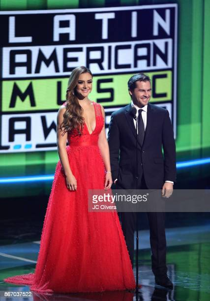 Ana Belena and Julio Vaqueiro speak onstage during the 2017 Latin American Music Awards at Dolby Theatre on October 26 2017 in Hollywood California
