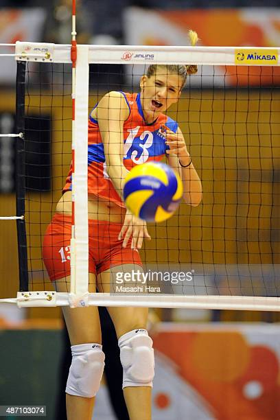 Ana Bjelica of Serbia spikes in warm up prior to the match between Argentina and Serbia during the FIVB Women's Volleyball World Cup Japan 2015 at...