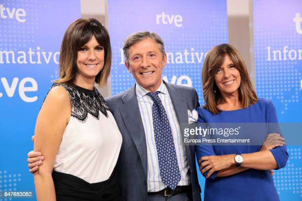 Ana Blanco Jesus Alvarez and Monica Lopez attend the presentation of the new season of TVE News on September 4 2017 in Madrid Spain