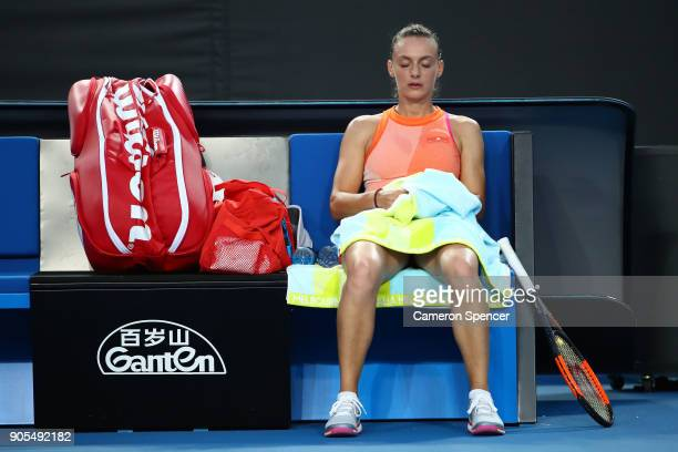 Ana Bogdan of Romania between games in her first round match against Kristina Mladenovic of France on day two of the 2018 Australian Open at...