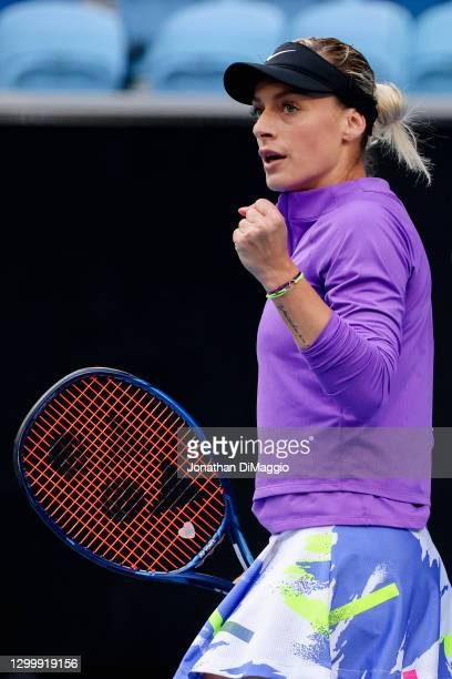 Ana Bogdan of Romania celebrates a point in her singles match against Ashleigh Barty of Australia during day three of the WTA 500 Yarra Valley...