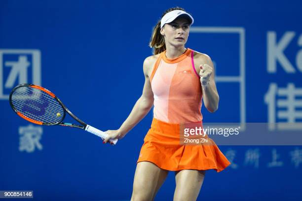 Ana Bogdan of Romania celebrates a shot during the match against Kristyna Pliskova of Czech Republic during Day 4 of 2018 WTA Shenzhen Open at...