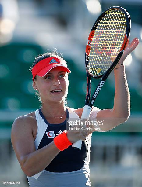 Ana Bogdan of Romania celebrates her win against Asia Muhammad of the United States during day one of the Bank of the West Classic at the Stanford...