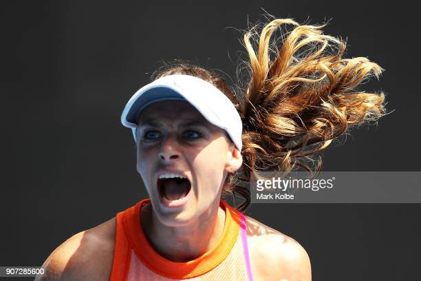 Ana Bogdan of Romania celebrates winning a point in her third round match against Madison Keys of the United States on day six of the 2018 Australian...
