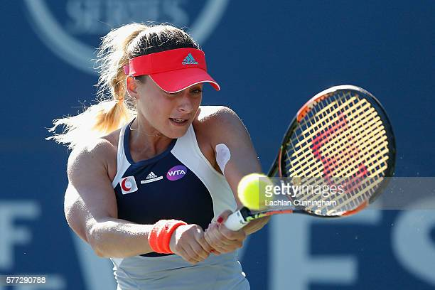 Ana Bogdan of Romania competes against Asia Muhammad of the United States during day one of the Bank of the West Classic at the Stanford University...