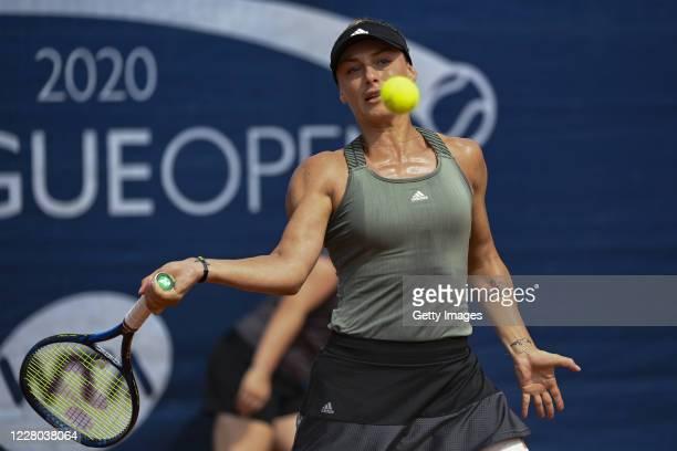 Ana Bogdan of Romania competes in her Women's Singles Quarter Final match against Kristyna Pliskova of Czech Republic during the WTA 2020 Prague Open...