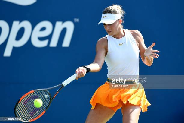 Ana Bogdan of Romania during her ladies singles second round match aganst Carolina Pliskova of Czech Republic on Day Three of the 2018 US Open at the...