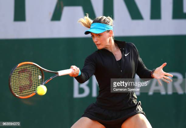Ana Bogdan of Romania during the ladies singles first round match against Marketa Vondrousova of Czech Republic during day three of the 2018 French...