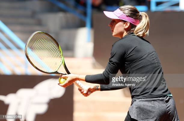 Ana Bogdan of Romania in action against Ipek Oz of Turkey during TEB BNP Paribas Istanbul Cup tennis match in Istanbul Turkey on April 22 2019