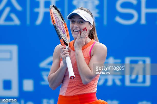 Ana Bogdan of Romania in action during the match against Camila Giorgi of Italy during Day 3 of 2018 WTA Shenzhen Open at Longgang International...