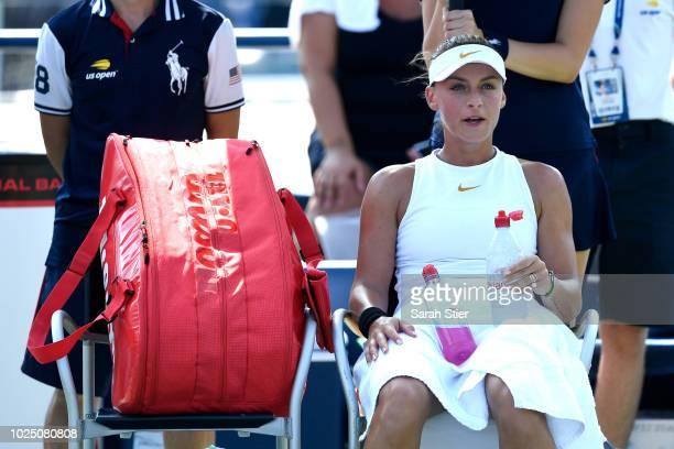 Ana Bogdan of Romania looks on during her ladies singles second round match aganst Carolina Pliskova of Czech Republic on Day Three of the 2018 US...