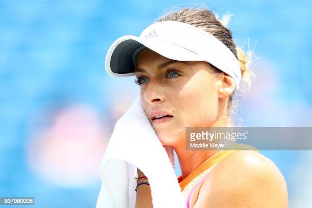 Ana Bogdan of Romania looks on during her match against Kirsten Flipkens of Belgium during Day 6 of the Connecticut Open at Connecticut Tennis Center...