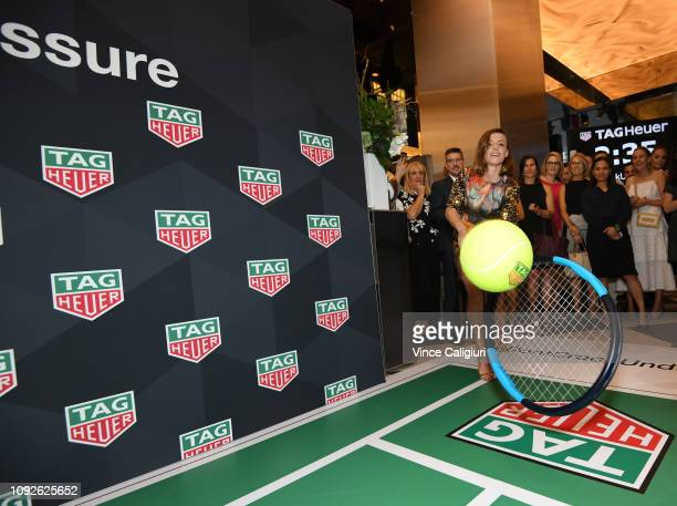 Ana Bogdan of Romania playing in the GIANT TENNIS challenge at the Unveiling of Tag Heuer's Global Tennis Ambassadors at the Tag Heuer Boutique on...