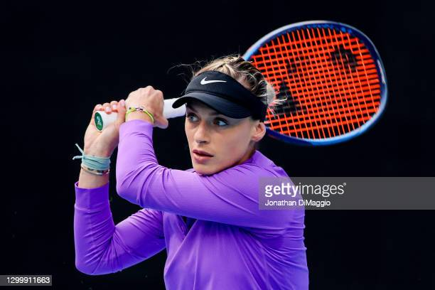 Ana Bogdan of Romania plays a backhand in her singles match against Ashleigh Barty of Australia during day three of the WTA 500 Yarra Valley Classic...