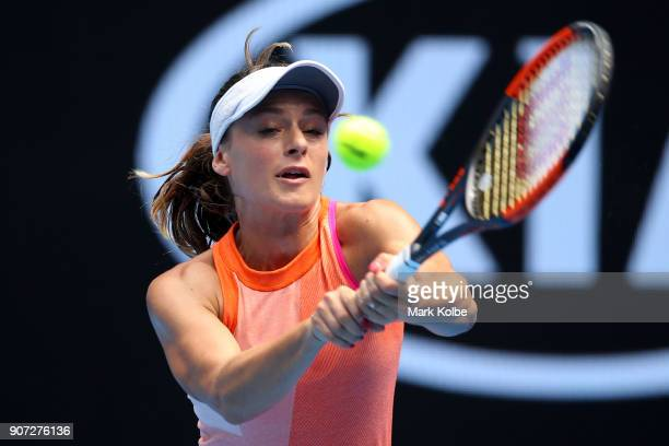 Ana Bogdan of Romania plays a backhand in her third round match against Madison Keys of the United States on day six of the 2018 Australian Open at...