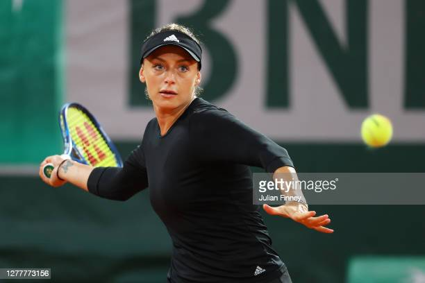 Ana Bogdan of Romania plays a forehand during her Women's Singles second round match against Sofia Kenin of The United States of America on day five...