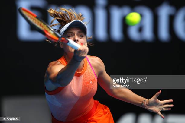 Ana Bogdan of Romania plays a forehand in her third round match against Madison Keys of the United States on day six of the 2018 Australian Open at...