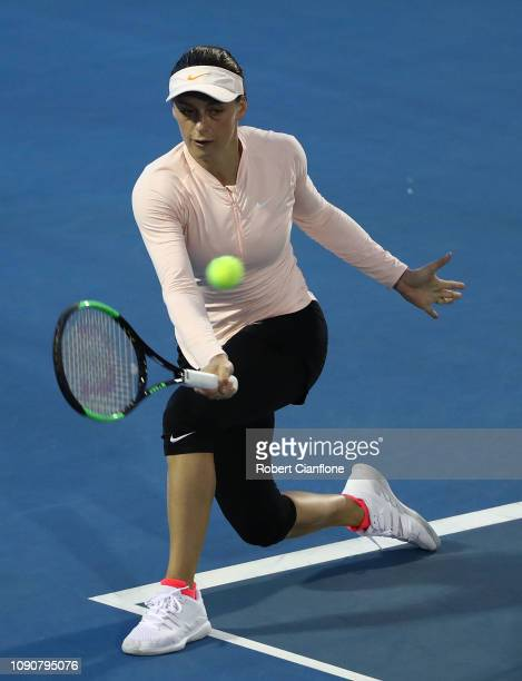 Ana Bogdan of Romania plays a shot during her singles match against Ons Jabeur of Tunisia during day three of the 2019 Hobart International at Domain...