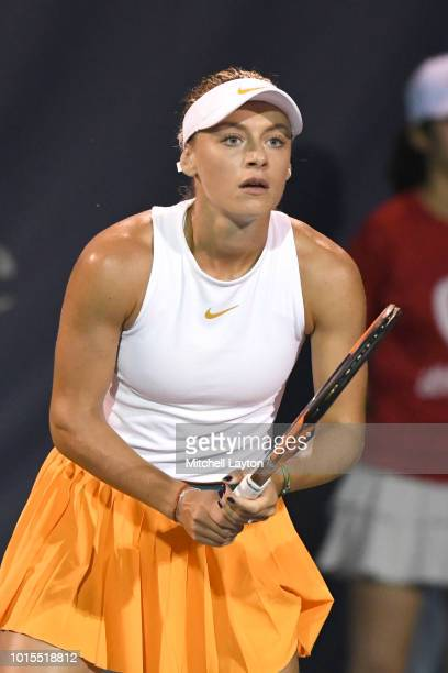 Ana Bogdan of Romania prepares for a shot from Svetlana Kuznetsova of Russia during Day Six of the Citi Open at the Rock Creek Tennis Center on...