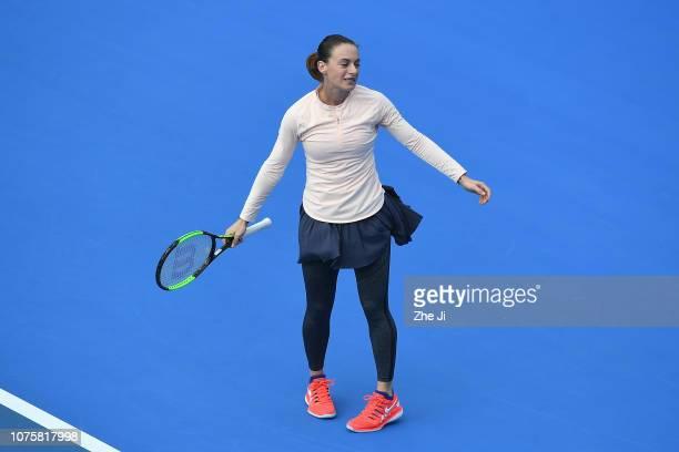 Ana Bogdan of Romania reacts against Anastasia Pavlyuchenkova of Russia during the women's singles 1st Round match on main draw day 1 of the 2019 WTA...