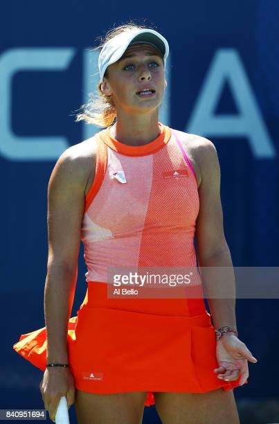 Ana Bogdan of Romania reacts against Taylor Townsend of the United States during their first round Women's Singles match on Day Three of the 2017 US...
