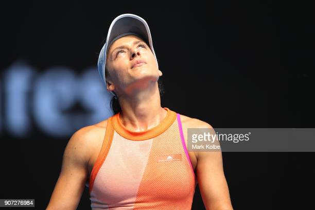 Ana Bogdan of Romania reacts in her third round match against Madison Keys of the United States on day six of the 2018 Australian Open at Melbourne...