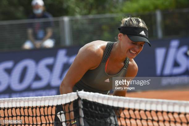 Ana Bogdan of Romania reacts to an injury in her Women's Singles Quarter Final match against Kristyna Pliskova of Czech Republic during the WTA 2020...