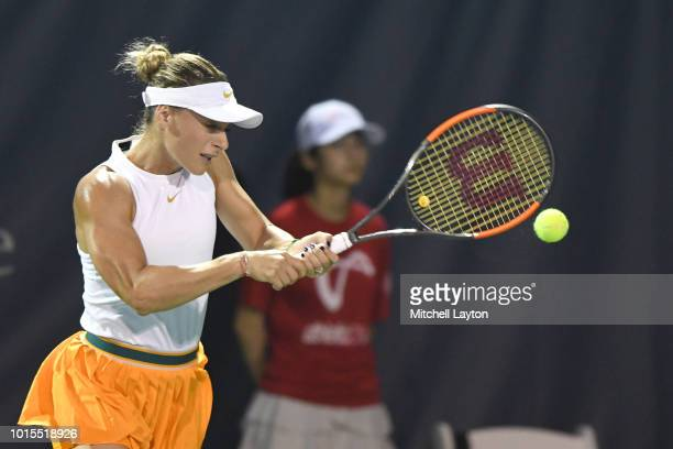 Ana Bogdan of Romania returns a backhand shot to Svetlana Kuznetsova of Russia during Day Six of the Citi Open at the Rock Creek Tennis Center on...