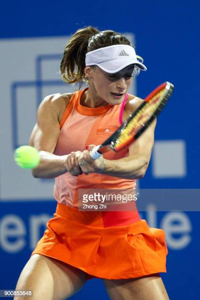 Ana Bogdan of Romania returns a shot during the match against Kristyna Pliskova of Czech Republic during Day 4 of 2018 WTA Shenzhen Open at Longgang...