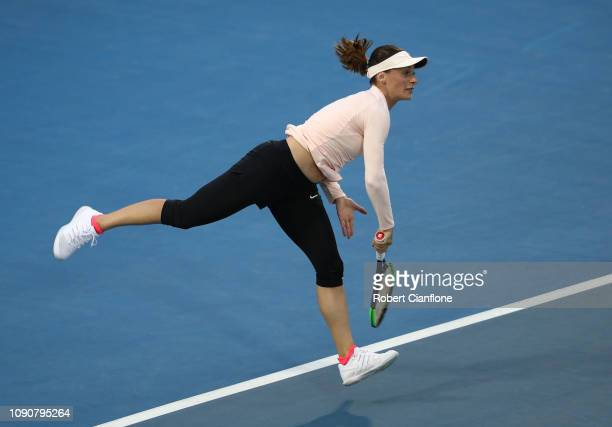 Ana Bogdan of Romania serves during her singles match against Ons Jabeur of Tunisia during day three of the 2019 Hobart International at Domain...