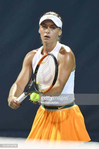 Ana Bogdan of Romania serves to Svetlana Kuznetsova of Russia during Day Six of the Citi Open at the Rock Creek Tennis Center on August 2 2018 in...