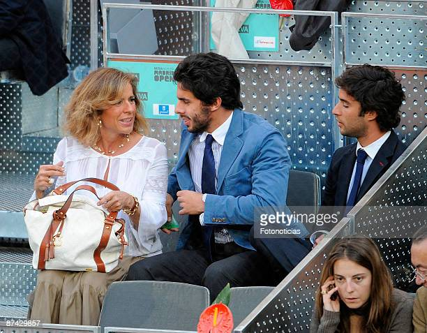 Ana Botella and her son Alfonso Aznar attend Madrid Open tennis tournament at La Caja Magica on May 15 2009 in Madrid Spain