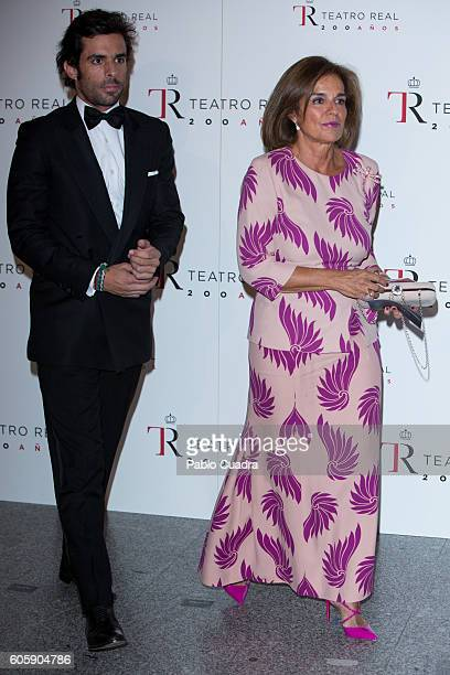 Ana Botella and her son Alonso Aznar attend the inaguration of the Royal Theatre Season on September 15 2016 in Madrid Spain