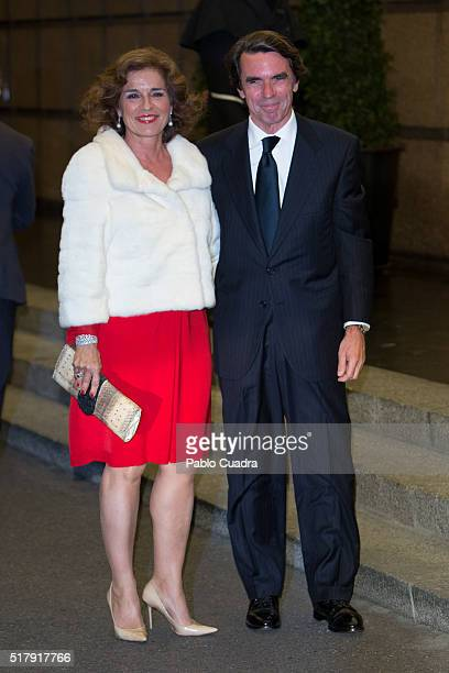 Ana Botella and Jose Maria Aznar attend the Mario Vargas Llosa 80th birthday party at the Villa Magna hotel on March 28 2016 in Madrid Spain