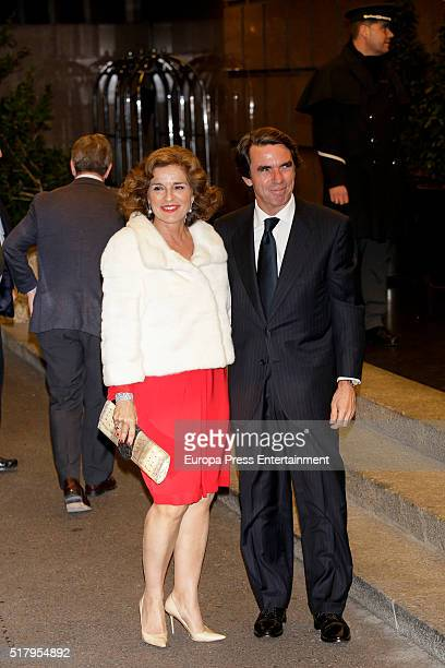 Ana Botella and Jose Maria Aznar attend the Mario Vargas Llosa 80th birthday party on March 28 2016 in Madrid Spain