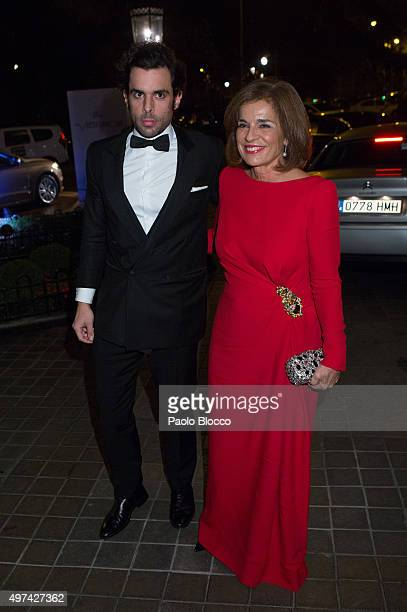 Ana Botella and son Alonso Aznar are seen arriving to 'Vanity Fair Personality of the Year' gala at Ritz Hotel on November 16 2015 in Madrid Spain