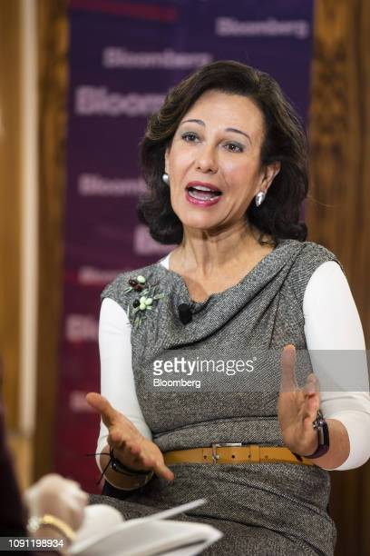 Ana Botin chairman of Banco Santander SA gestures as she speaks during a Bloomberg Television interview at the Santander Work Cafe in Madrid Spain on...