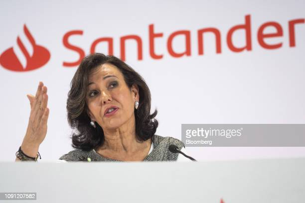 Ana Botin chairman of Banco Santander SA gestures as she speaks during a news conference in Boadilla del Monte Spain on Wednesday Jan 30 2019 Were...