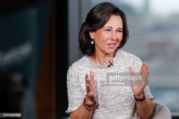 Ana Botin chairman of Banco Santander SA gestures while speaking during a Bloomberg Television interview in London UK on Tuesday Oct 2 2018 Botin a...