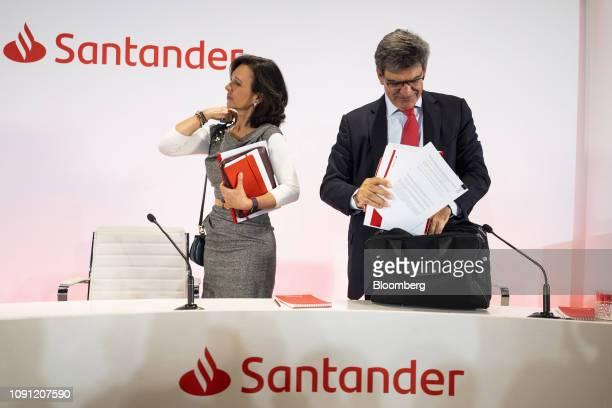 Ana Botin chairman of Banco Santander SA left and Jose Antonio Alvarez chief executive officer of Banco Santander SA depart after attending a news...