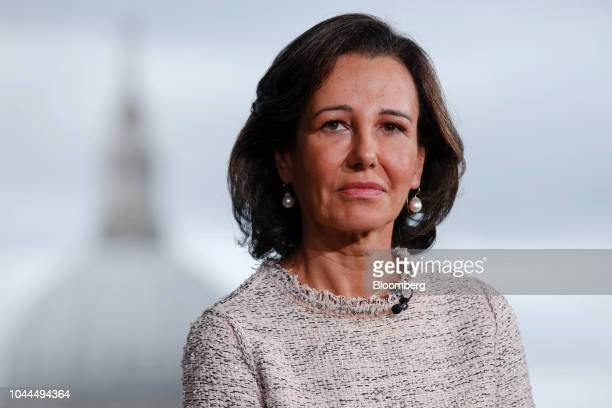 Ana Botin chairman of Banco Santander SA pauses during a Bloomberg Television interview in London UK on Tuesday Oct 2 2018 Botin a threedecade Brazil...