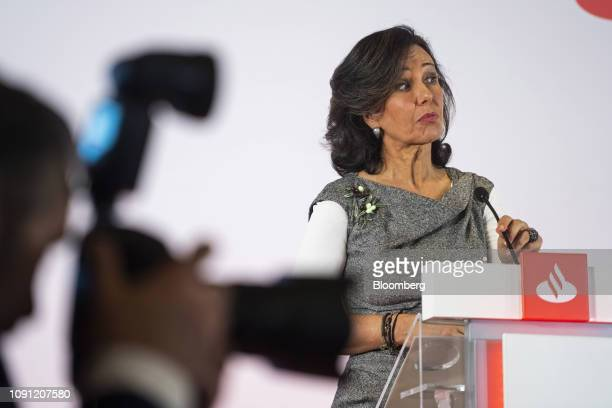 Ana Botin chairman of Banco Santander SA reacts as she speaks during a news conference in Boadilla del Monte Spain on Wednesday Jan 30 2019 Were very...