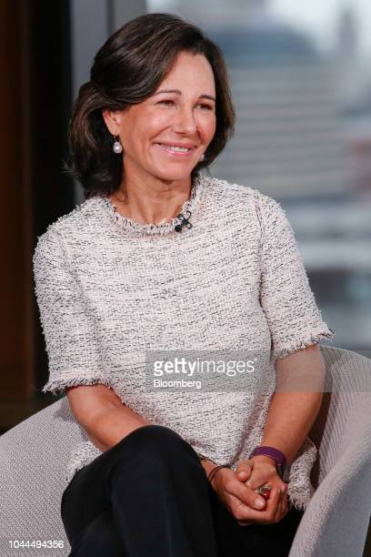 Ana Botin chairman of Banco Santander SA reacts during a Bloomberg Television interview in London UK on Tuesday Oct 2 2018 Botin a threedecade Brazil...