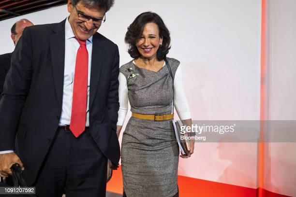 Ana Botin chairman of Banco Santander SA right and Jose Antonio Alvarez chief executive officer of Banco Santander SA depart after attending a news...